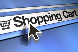 """A computer cursor hovering over the words """"Shopping Cart."""""""