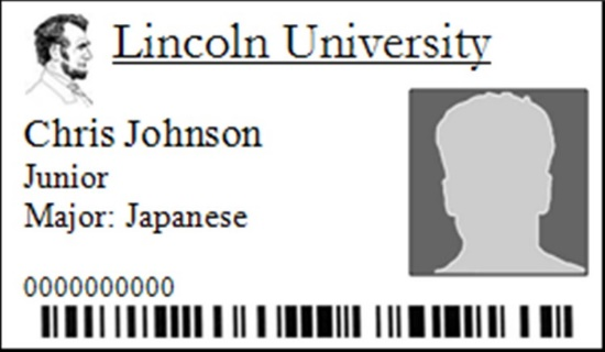 Lincoln ID card for Chris Johnson, Junior and Japanese major.