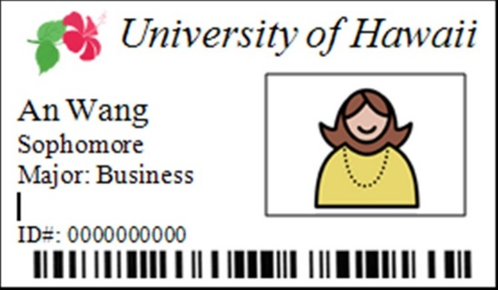 University of Hawaii ID card for An Wang, Sophomore and Business major.