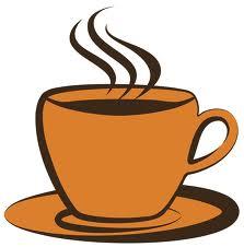 A steaming mug of coffee or tea.
