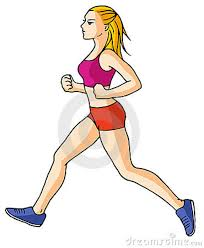 A person jogging in athletic clothes and shoes.