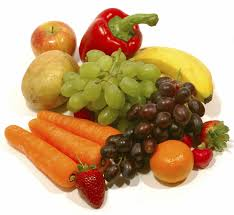 A bunch of fruits and vegetables.