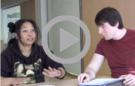 Image of students in the video, Text Wrestling/Close Reading Round Table