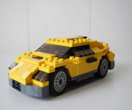 Car structure created with building blocks.