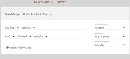 A webpage screenshot of an advanced search field from a library website.
