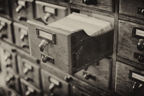 Photo of a library card catalog