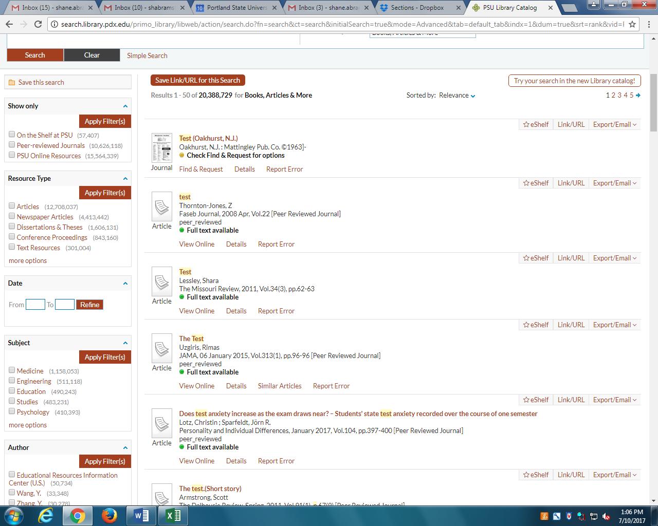 Screenshot of library catalog