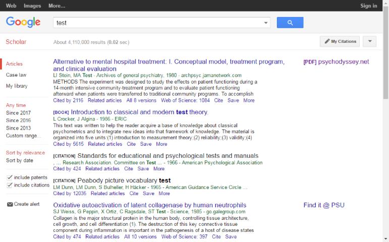 Screenshot from google scholar search