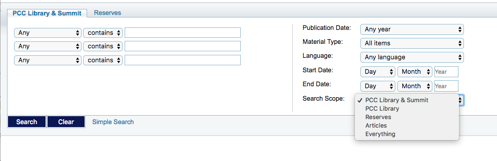 Screenshot from library serach pages
