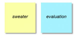 Textboxes formatted as a yellow and blue Post-it notes. The yellow box has the word 'sweater' and the blue box has the word 'evaluation' written on them.