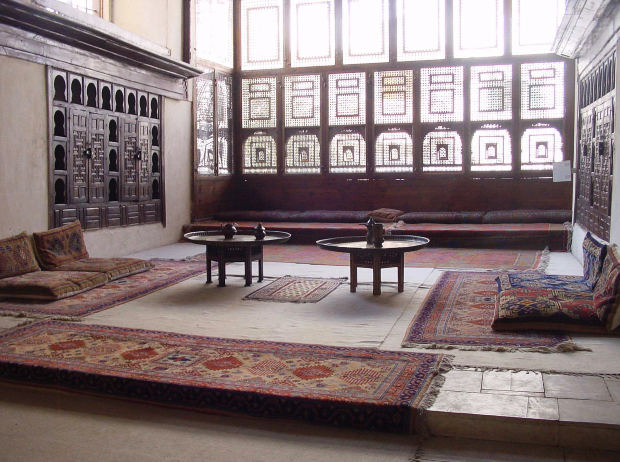 Photograph: Islamic Architecture - Indoor Sitting Space; floor cushions and low tables